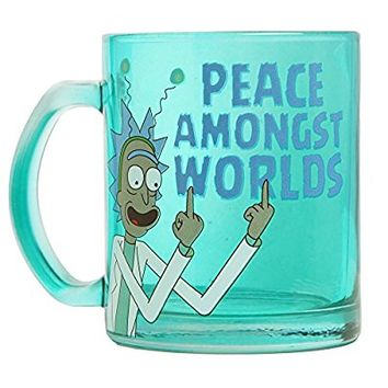 Rick & Morty Peace Amongst Worlds Glass Coffee Mug