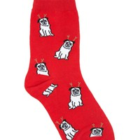 Holiday Pug Crew Socks
