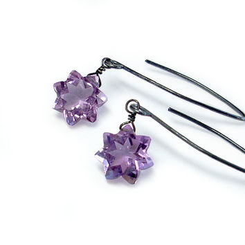 Amethyst Star Earrings Sterling Silver and by GothicGlitter