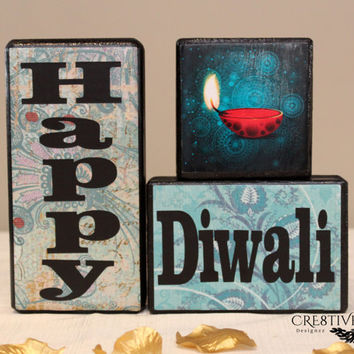 Happy Diwali Festival of Lights Wood Blocks Decor