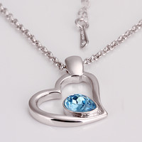 Blue Crystal in Heart White Gold Plated Necklace
