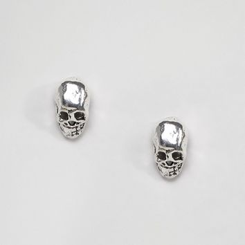 Kingsley Ryan Sterling Silver Skull Stud Earrings at asos.com