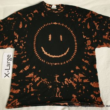 Adult XL Tie-Dye Discharge Smiley Face Tee