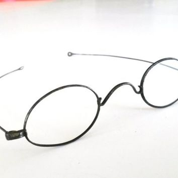 Antique Civil War Reading Glasses Steel Wire Spectacles 1800s Open Loop Temple