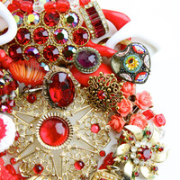Vintage Red Broken Jewelry Lot - Earrings, Brooches, Necklaces, Rhinestones for Repair Repurpose / Over 12 Ounces of Ruby Red Supplies