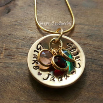 NuGold Mother's Personalized Necklace, Family Necklace, Gift for Her, Children's Names Necklace, Grandmother Jewelry, Mother Jewelry