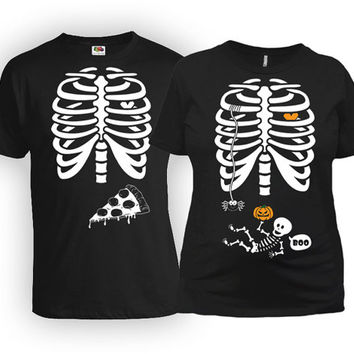 Maternity Halloween Costume Expecting Announcement T Shirt Baby Skeleton Shirt Pizza Ribcage TShirt Father To Be Gift For New Mom MAT-20-164