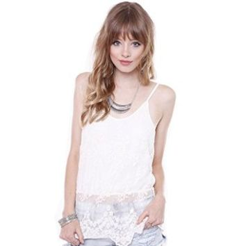 Junior's Trendy T-LC14591 Ivory All Over Lace Spagehetti Strap Cami
