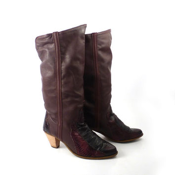 Leather Cowboy Boots 1980s Dingo Slouch Burgundy Brown Lizard Women's size 8