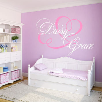 Personalized Heart Nursery Wall Decal, Monogram Wall Decal, Baby Girl Nursery Wall Decal, Girls Name Wall Decal, Heart Wall Decal