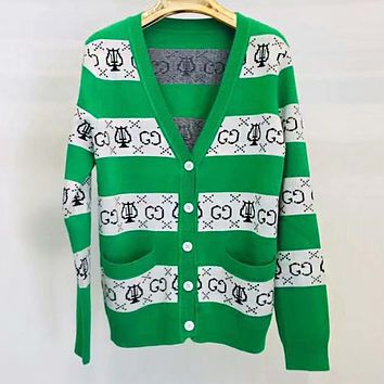 GUCCI New Hot Sale Women Leisure Green White Stripe Long Sleeve V Collar Button Cardigan Jacket Coat