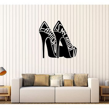 Vinyl Wall Decal Fashion Quote Girl Room Shoes Woman Stickers Unique Gift (427ig)