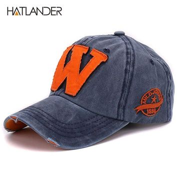 Trendy Winter Jacket Hatlander cotton letter W Baseball Cap retro outdoor sports caps women bone gorras curved fitted washed vintage dad hats for men AT_92_12
