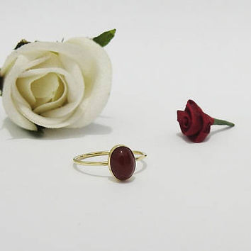 Engagement Ring, Solitaire Ring, Carnelian Ring, Thin Ring, 6x8mm Cabochon 9K Yellow, Rose or White gold, August Birthstone