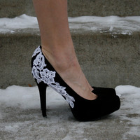Black Heel With Venise Lace Applique Size 65 by walkinonair