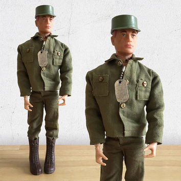 1960s GI Joe Action Figure /Talking GI Joe Army Commander by Hasbro Patent Pending Army Action Doll with Painted Rivets