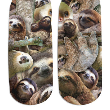 Sloth Collage Ankle Socks