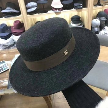 ONETOW Chanel' Autumn Winter Women Fashion All-match Retro Flat Top Cap Wool Large Brimmed Hat