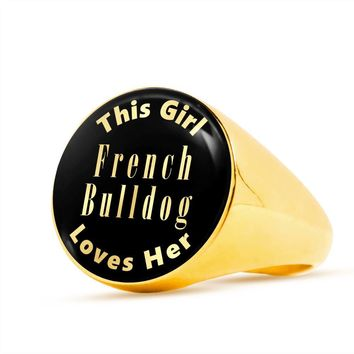 French Bulldog - 18k Gold Finished Luxury Signet Ring