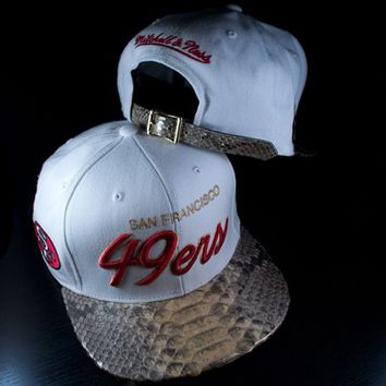 Mitchell and Ness BCS NL23z San Francisco 49ers Python Strapback Hat - White, Metallic Gold, Red