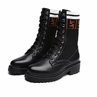 FENDI Popular Women Personality Leather Shoes Boots Black I13633-1