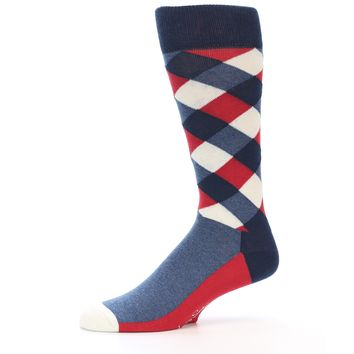 Red White Blue Diamonds Men's Dress Socks - Happy Socks