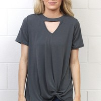 Keyhole Get Twisted Cupro Modal S/L {Charcoal}