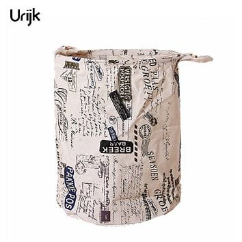Urijk Laundry Products Linen Cotton Laundry Basket Foldable Clothes Organizer Storage Bag Home Laundry Bags Baskets Hamper