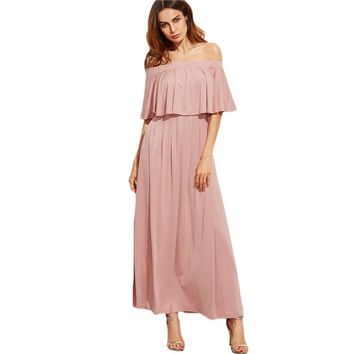 Off-the-Shoulder Modest Dress