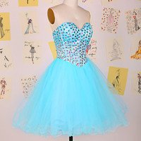 Blue Sweetheart Beading Rhinestones Organza Short Prom Dress/Knee Length Homecoming Dress/Corset Back Beading Prom Dress DAF0071
