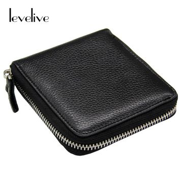 LEVELIVE Casual Genuine Leather Men's Zipper Wallet Men Cow Leather Small Wallets Card Holder Coin Pocket Purse Male Carteras