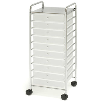 Seville Classics 10-Drawer Wide Organizer in Frosted White