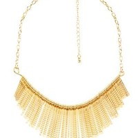 Gold Metal Fringe Statement Necklace by Charlotte Russe