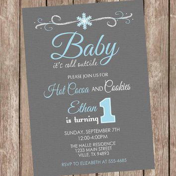 Baby it's cold outside birthday invitation, winter birthday invitation, snowflake invitation, boy winter invitation, printable, digital