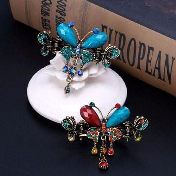 DCCKFS2 Women Vintage hair claws Turquoise blue Butterfly Pins Hair Bow Barrette Clip Hair Accessories