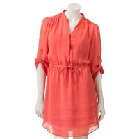 LC Lauren Conrad Button-Tab Chiffon Shirtdress