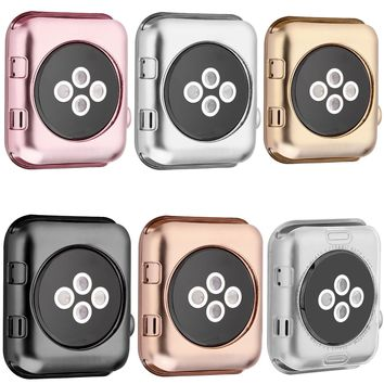 Series 1/2/3 Soft Silicone Case for Apple Watch Cover 38mm 42mm Fashion Plated TPU Protective Cover for iWatch