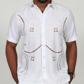 Prestige Lux-690 Crochet Linen Button Down Shirt