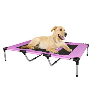 Elevated Dog Bed Portable Indoor Outdoor Patio Extra Large Pink