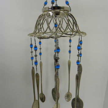 Wind chime with re purposed vintage silver plated flatware - fiber optic blue