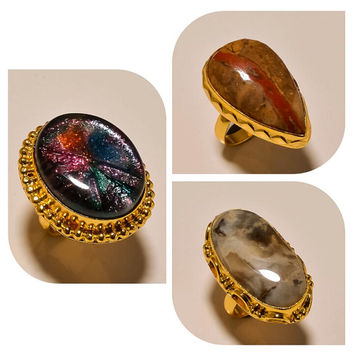 Beautiful Gemstones Gold Plated Handmade Rings - GP Rings