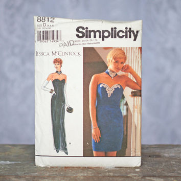 Simplicity 8812 Sewing Pattern Evening Dress Jessica McClintock Designer Pattern Petite Size Teenage Girl