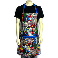 Marvel Super Hero Apron for Men , Ironman , Thor , Wolverine , The Incredible Hulk , Comic Book Kitchen Decor