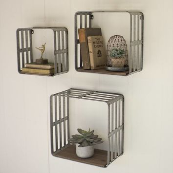 Slat Metal And Wood Display Crates (Set of 3)