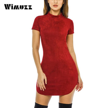 Wimuzz Bodycon Red Summer Suede Leather Dress Women 2017 Short Sleeve Sexy Short Dresses Turtleneck Club Dress Vestidos