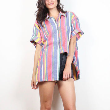 Vintage 1980s Shirt Soft Faded Rainbow Striped Chambray Shirt Button Down Collared Blouse Top Boyfriend Shirt 80s Preppy L Extra Large XL