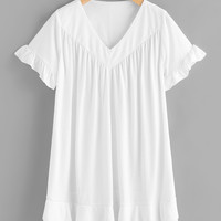 White V-Neck Frill Trim Short Sleeve Tee Dress