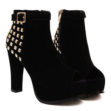 Black Rivets and Peep Toe Design Zippered Boots