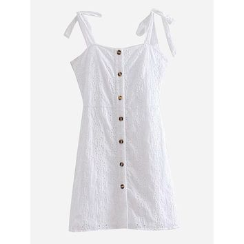 Eyelet Embroidered Button Through Dress