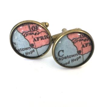 South Africa Vintage Map Cufflinks